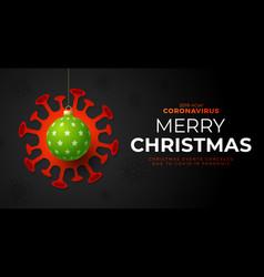 Green christmas ball and quarantine coronavirus vector