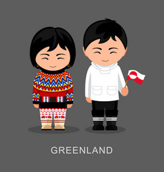 greenlanders in national dress with a flag vector image