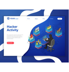 hacker activity isometric concept vector image