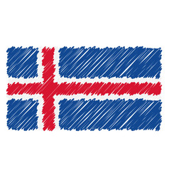 hand drawn national flag of iceland isolated on a vector image
