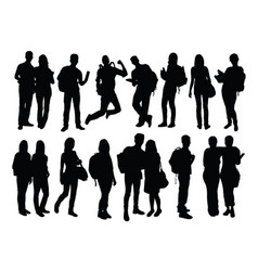 Happy student activity silhouettes vector