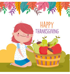 happy thanksgiving celebration cute girl with vector image