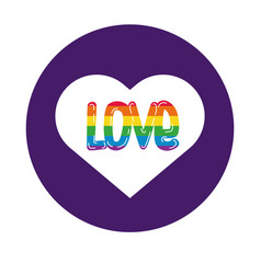 heart with love word gay pride block style vector image