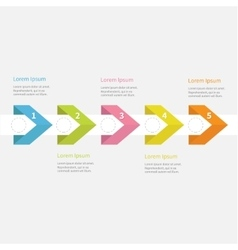 Infographic five step with ribbon arrow dashed vector image