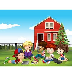 Internatinal children studying outside classroom vector image