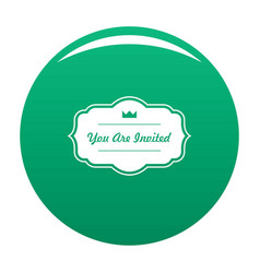 Invated label icon green vector