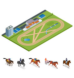 Isometric exterior racecourse and set jockey on vector