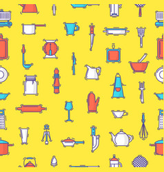 Kitchenware seamless pattern cookware for vector