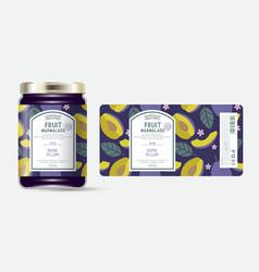 Label packaging jar marmalade pattern dark plum vector