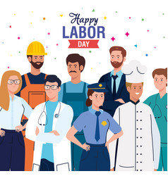 Labor day poster with people group different vector
