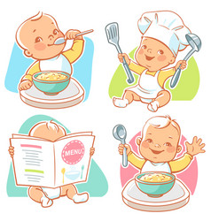 little baby breakfast vector image