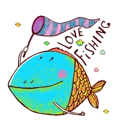 Lovely cartoon funny fish greeting card design vector