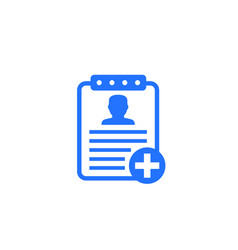 Medical history patient data icon on white vector