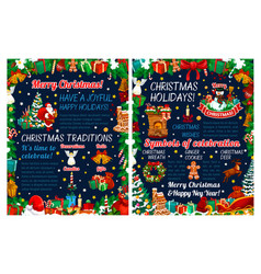 merry christmas holiday greeting poster vector image