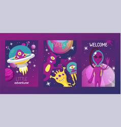 monster alien set of cards vector image
