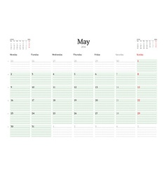 Monthly Calendar Planner 2016 Print Template May vector image