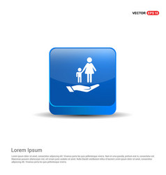 Mother and child in hand icon - 3d blue button vector