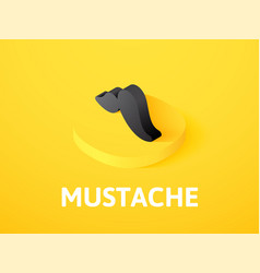 mustache isometric icon isolated on color vector image
