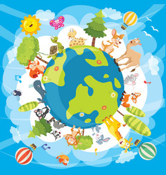 of world animals vector image