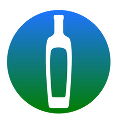 Olive oil bottle sign white icon in vector