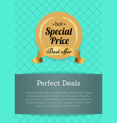 Perfect deals special pice best offer hot label vector