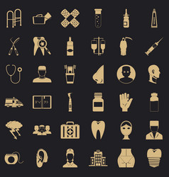 Pharmaceutical product icons set simple style vector