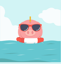 piggy bank swimming inflatable ring vector image