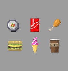 pixel art fast food icons vector image