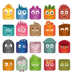 Playful character icons in different colors vector