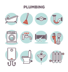 Plumbing template with flat icons set on white vector