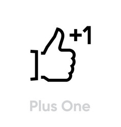 plus one thumb up down icon editable line vector image
