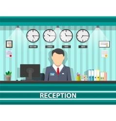 reception with receptionist interior vector image