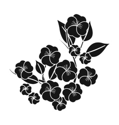 Sakura flowers icon in black style isolated on vector