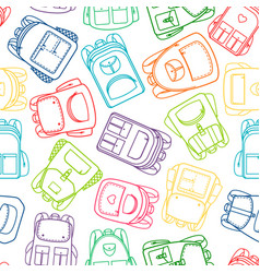 School pattern with colorful outline backpacks vector