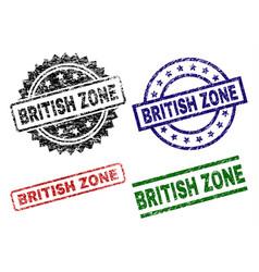 Scratched textured british zone stamp seals vector