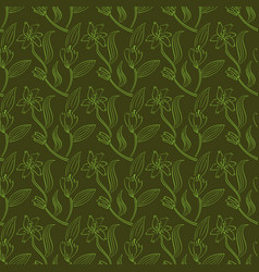 seamless pattern of lily flowers vector image