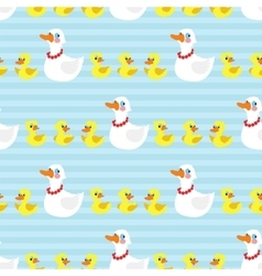 Seamless pattern with mother duck and ducklings on vector