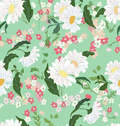 Seamless pattern with white daisy vector image