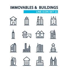 set buildings design style decorative icons vector image