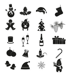 set merry christmas and new year icons vector image
