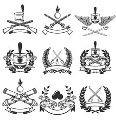 set of ancient weapon emblems muskets saber vector image
