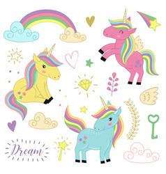 Set of isolated unicorns and elements part 1 vector