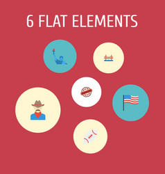 Set of usa icons flat style symbols with flag vector