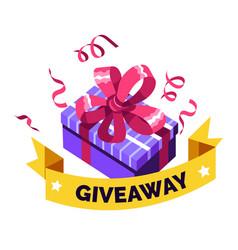 social media giveaway giving present gift box vector image