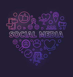 social media heart concept colorful linear vector image