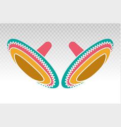 Sombrero colorful mexican hat flat icon vector