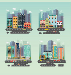 Streets of city or town with skyscrapers and cars vector