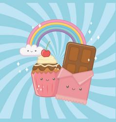 Sweet chocolate bar and candies kawaii characters vector