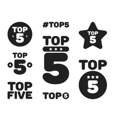 top five 5 black and white icon set vector image