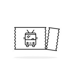 Torn trolleybus ticket black linear icon vector